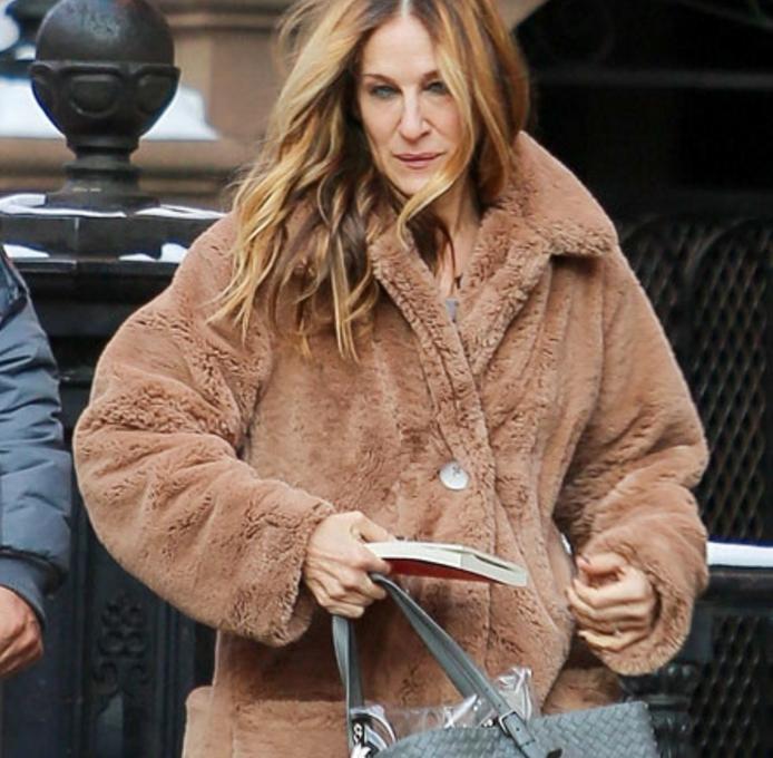 Джессика Паркер в пальто