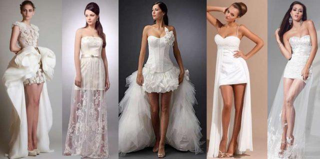 Короткая юбка у свадебного платья